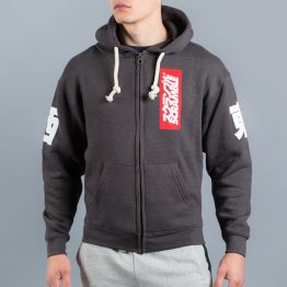 East/West Zip Hoodie - Black Melange