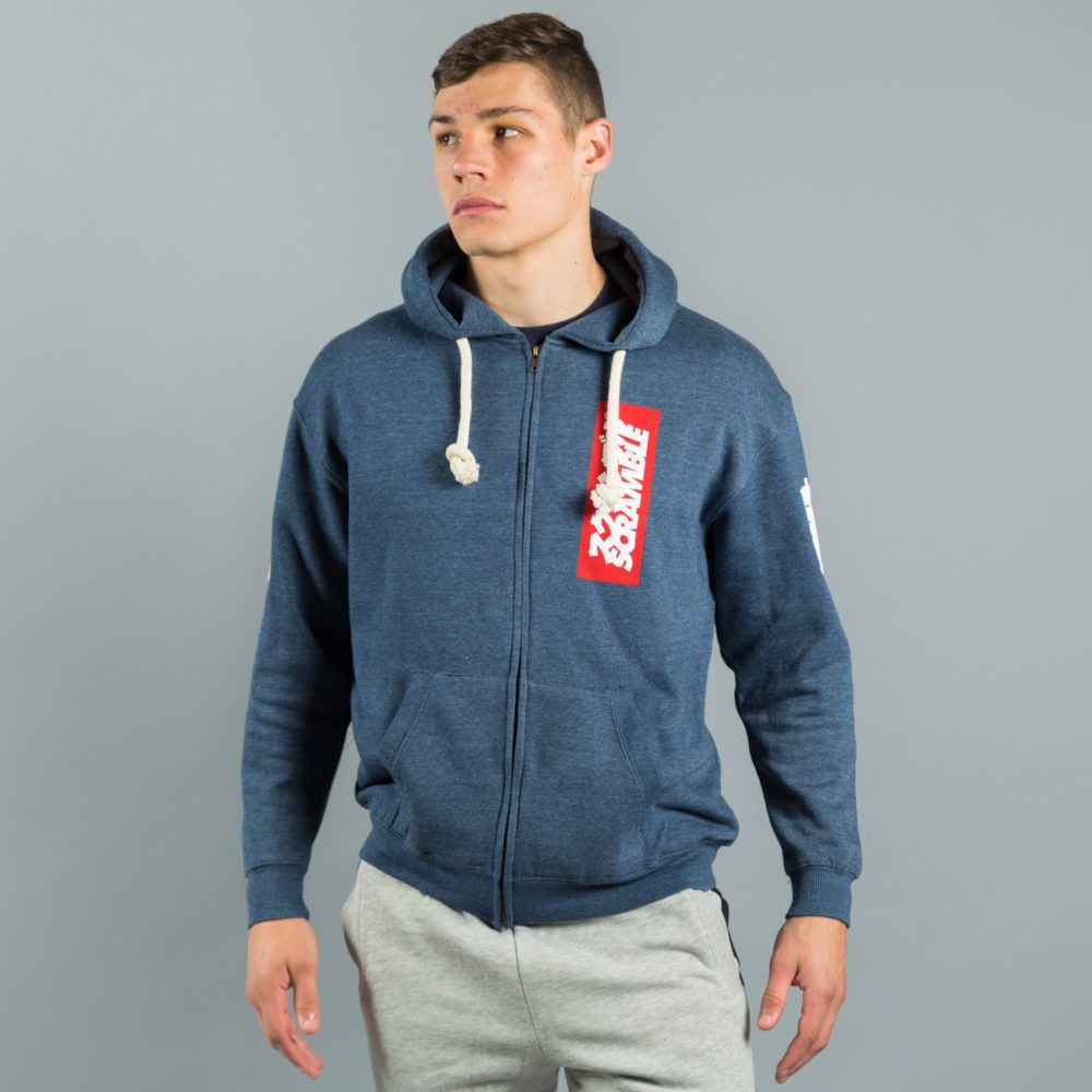East/West Zip Hoodie - Navy Melange